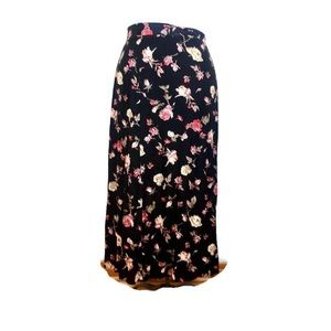Vintage Worthington Black Fall Floral Maxi Skirt